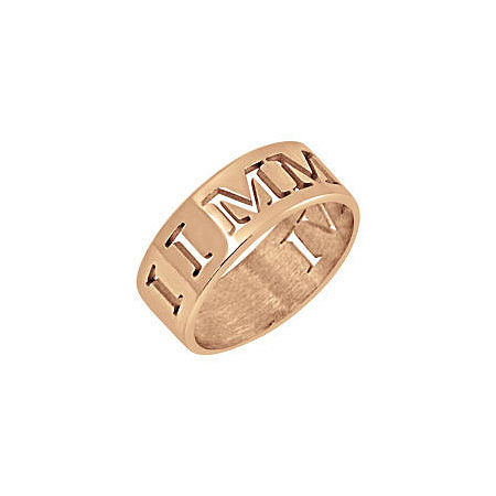 Personalized Roman Numeral Date Ring, 8 , Pink