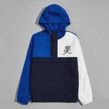 Men Graphic Print Colorblock Hooded Jacket