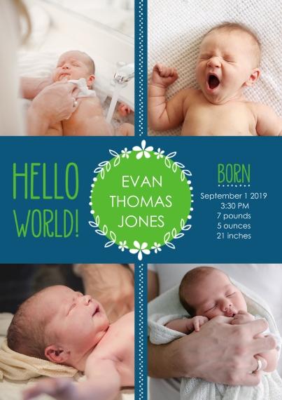 Newborn 5x7 Cards, Standard Cardstock 85lb, Card & Stationery -Hello World! Baby Announcement Boy