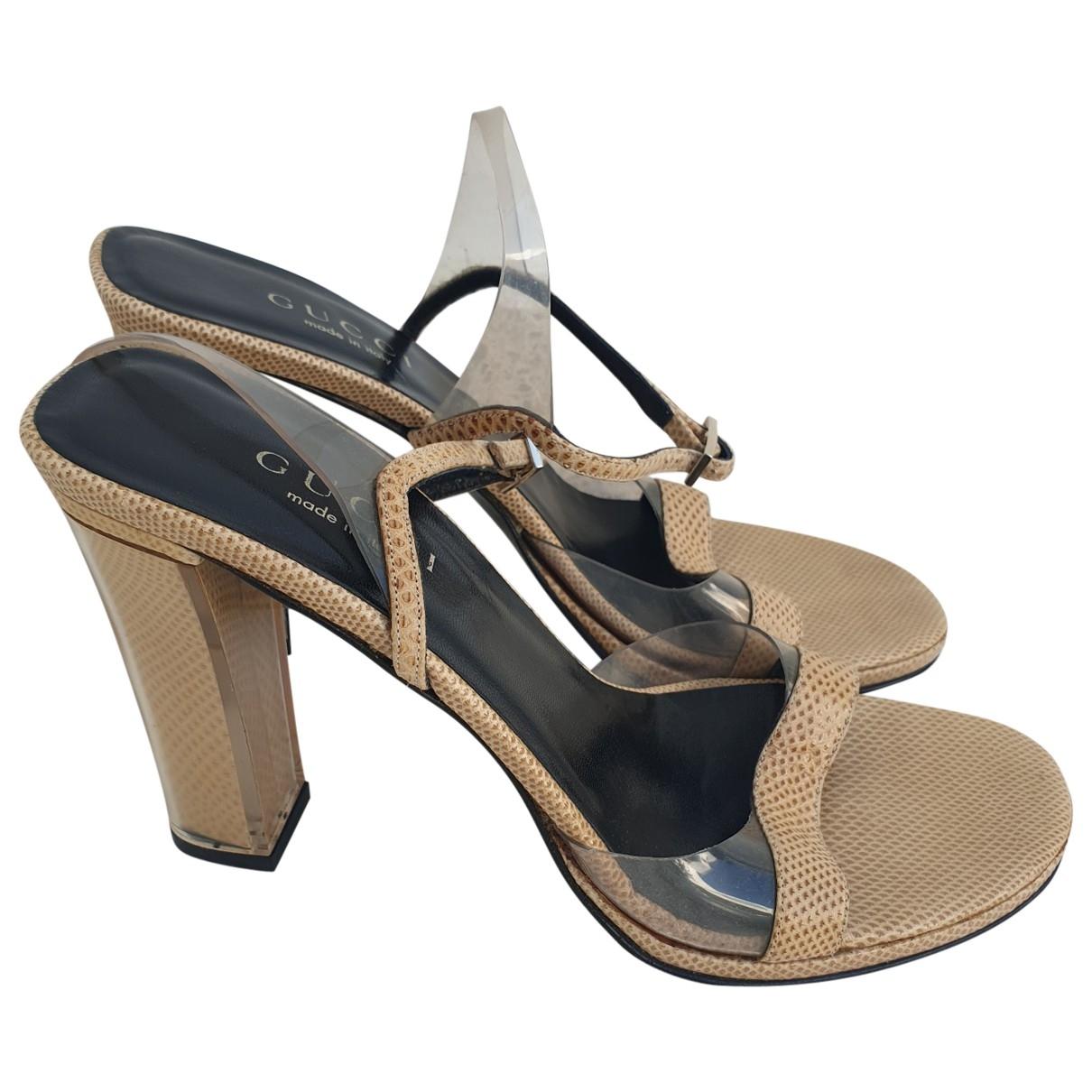 Gucci \N Beige Leather Sandals for Women 38.5 EU
