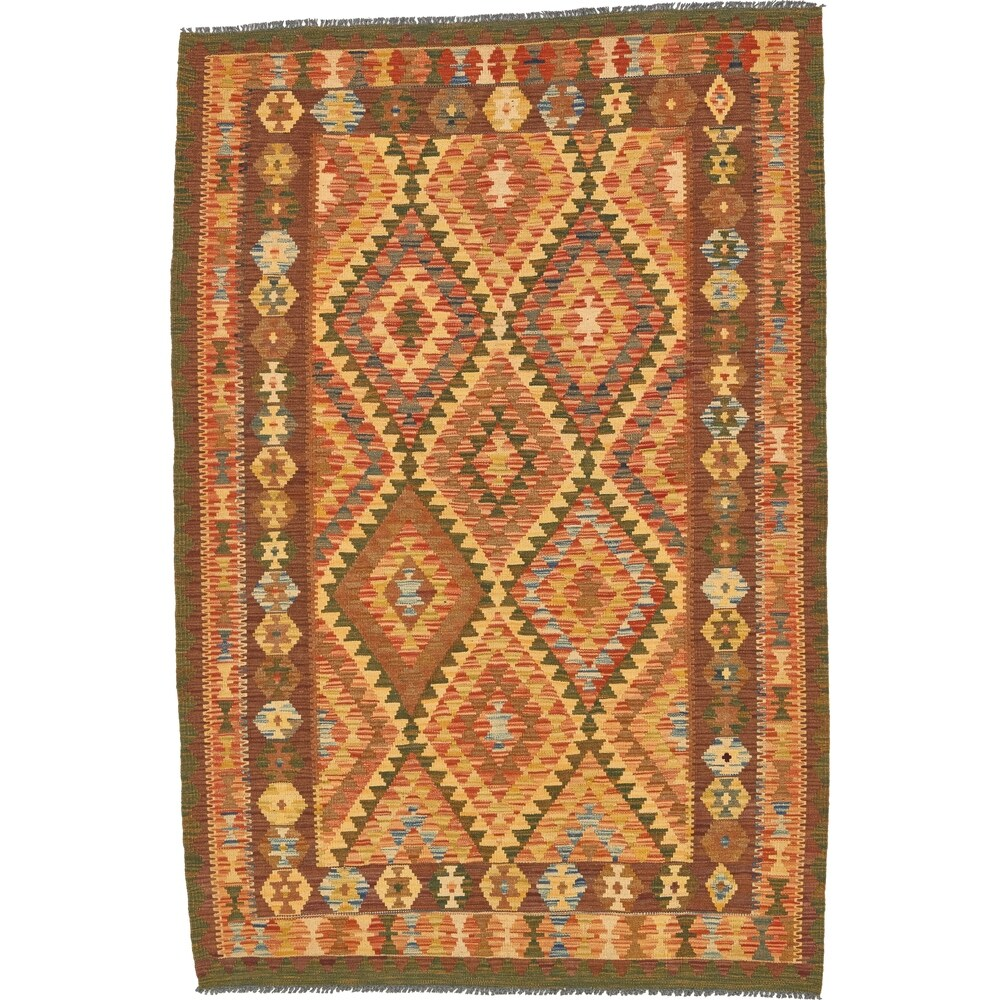 Hand Woven Kilim Maymana Wool Area Rug - 4' 6 x 6' 9 (Cream - 4' 6 x 6' 9)