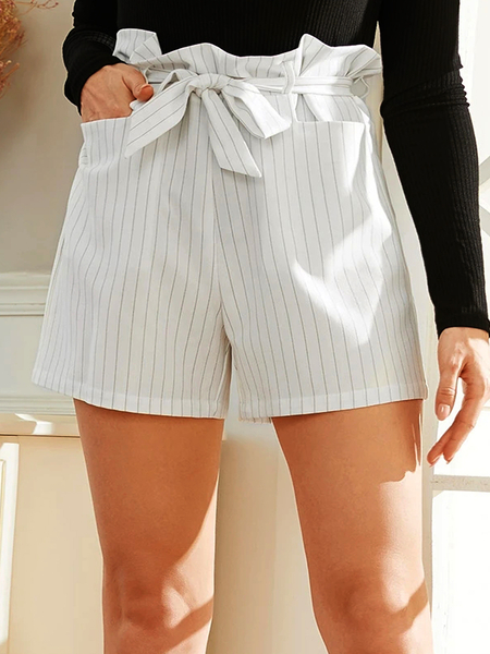 YOINS White Belt Design Striped High-Waisted Shorts