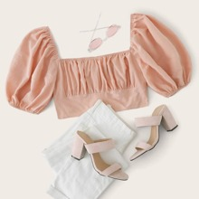 Zip Back Puff Sleeve Ruched Bust Crop Top