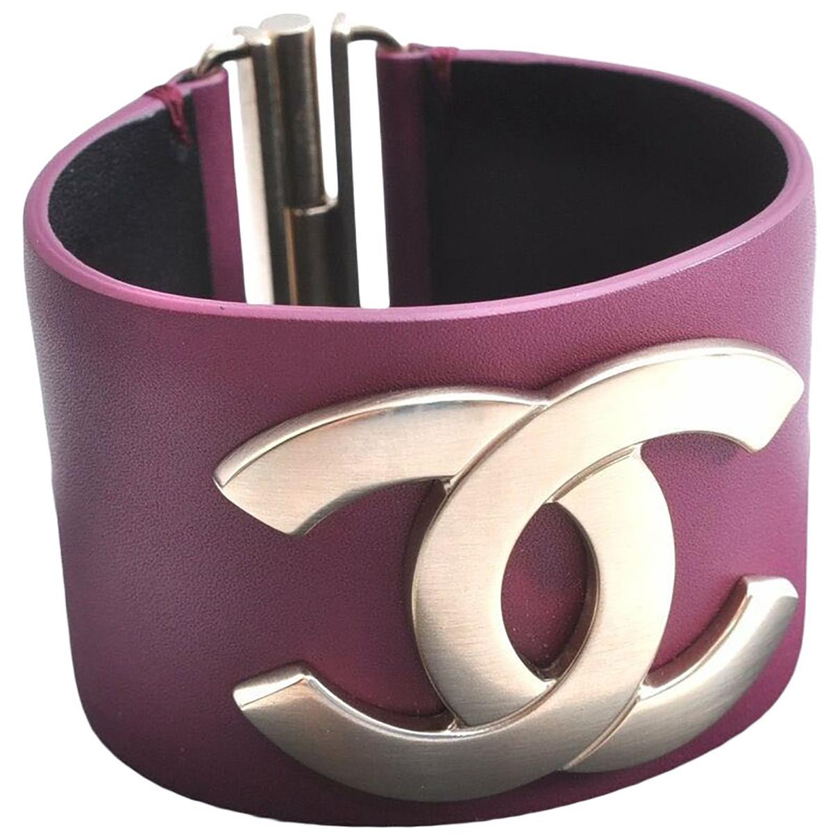 Chanel - Bracelet CC pour femme en cuir - violet