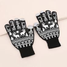 Strick Handschuhe mit Hirsch Muster