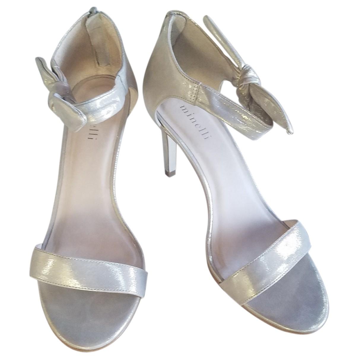 Minelli - Sandales   pour femme en cuir - argente
