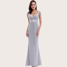 Grau  Reissverschluss  Einfarbig Glamouros Kleider