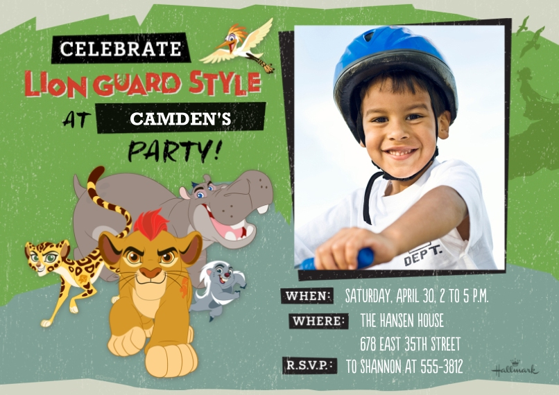 Kids Birthday Party Invites 5x7 Cards, Premium Cardstock 120lb with Elegant Corners, Card & Stationery -Celebrate - The Lion Guard