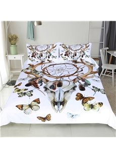 3D Butterfly and Goat Skull Printed Polyester 3-Piece Bedding Sets/Duvet Covers
