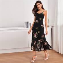 Vestido de tirante floral bajo fruncido
