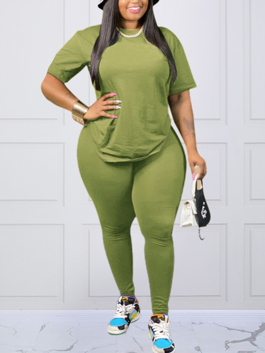 LW lovely Casual O Neck Basic Green Plus Size Two-piece Pants Set