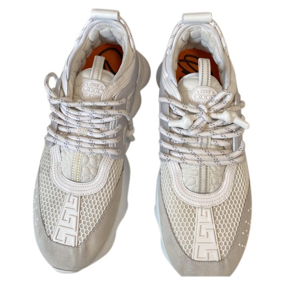Versace Chain Reaction Sneakers in  Weiss Polyester