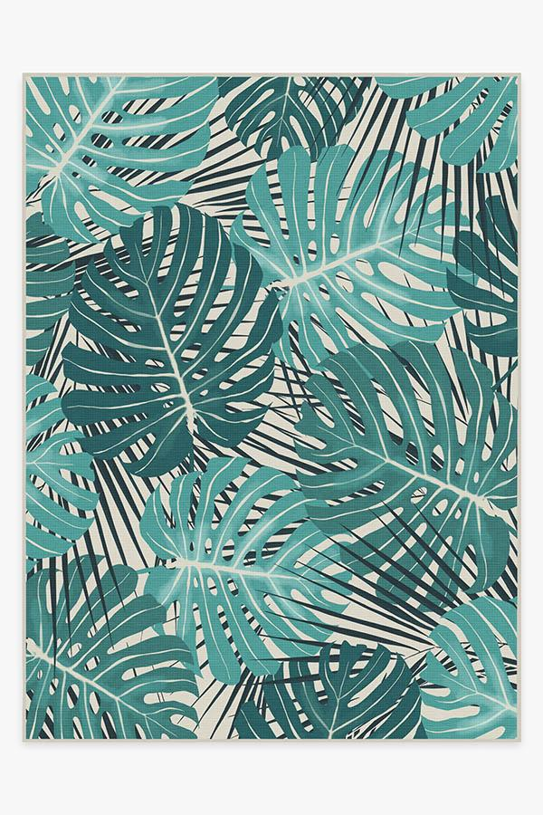 Washable Rug Cover | Monstera Teal Rug | Stain-Resistant | Ruggable | 9x12