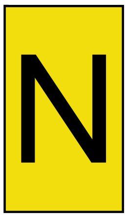 HellermannTyton Ovalgrip Slide On Cable Marker, Pre-printed N Black on Yellow 1.7 → 3.6mm Dia. Range