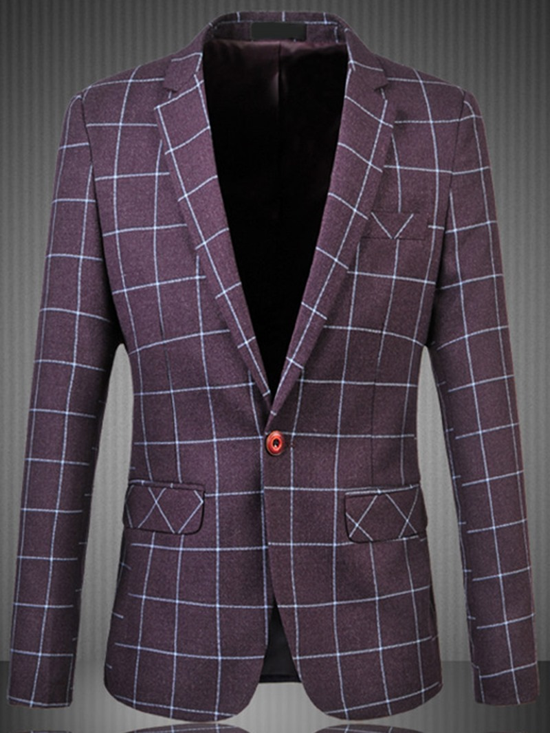 Ericdress Pocket Plaid Notched Lapel Slim Large Size Casual Men's Blazer