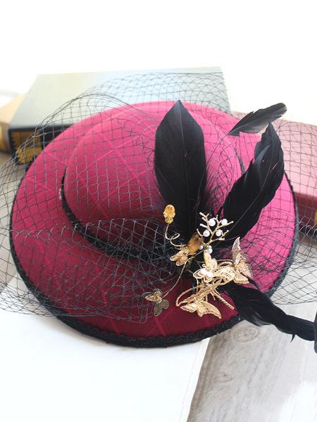 Milanoo Tocado para mujer para dia de fiesta de algodon de algodon de color de fucsia con gorra