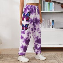 Butterfly Print Tie Dye Sweatpants