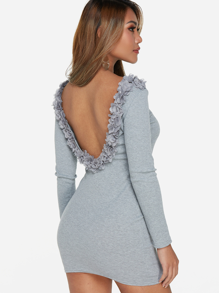 Yoins Grey Backless Lace Details Round Neck Long Sleeves Dress