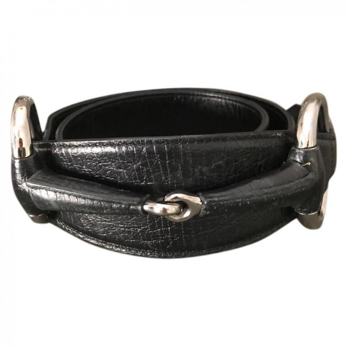 Gucci \N Guertel in  Schwarz Leder