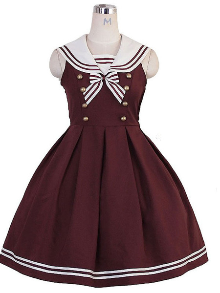 Milanoo JK Lolita Dress Bow Button Stripe Sleeveless Lolita Jumper Skirts