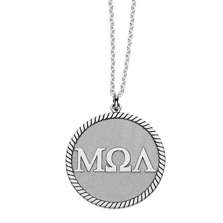Personalized Greek Letters 20mm Rope-Border Circle Pendant Necklace, One Size , White