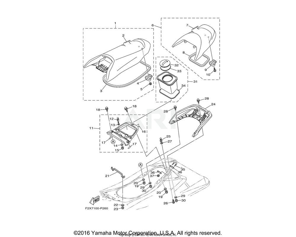 Yamaha OEM F2X-U371A-20-00 DOUBLE SEAT ASSY