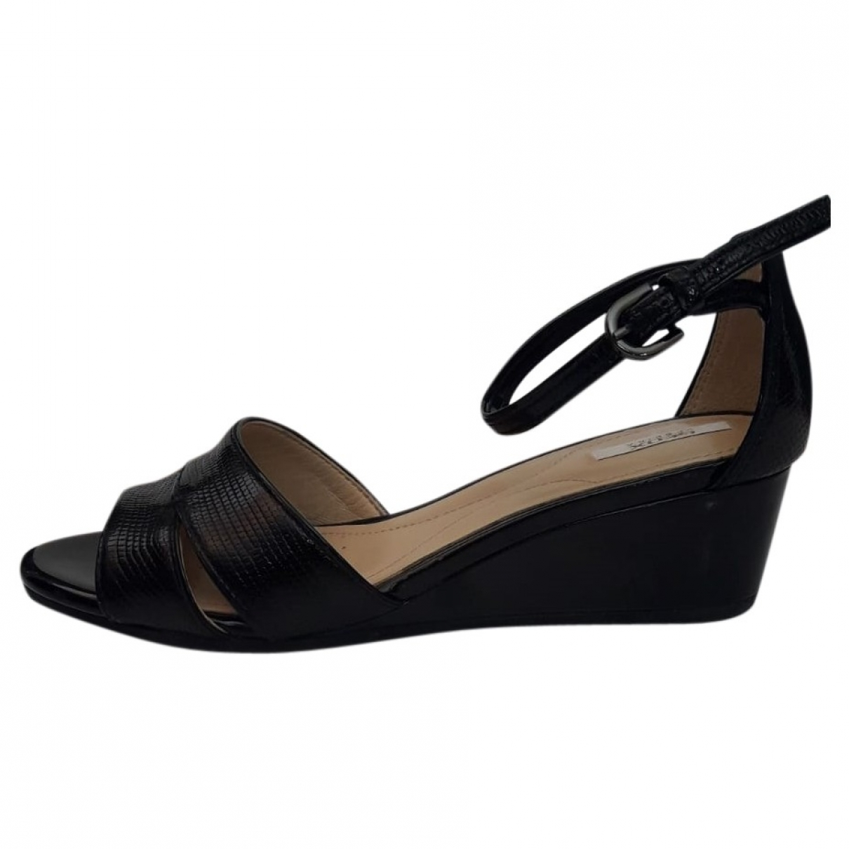 Non Signé / Unsigned \N Black Leather Sandals for Women 35 EU