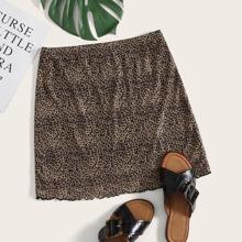 Lettuce Hem Leopard Mesh Skirt