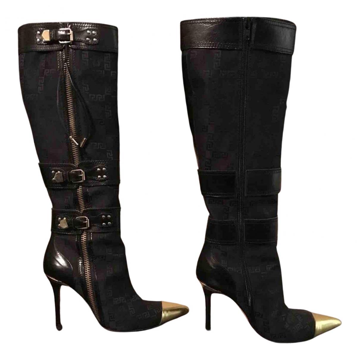 Gianni Versace - Bottes   pour femme en toile - noir