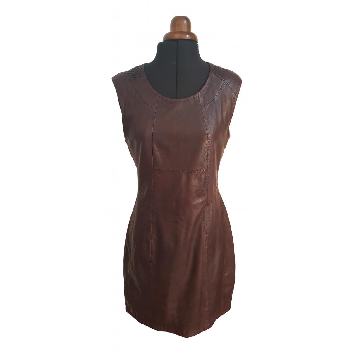 Ikks \N Burgundy Leather dress for Women M International