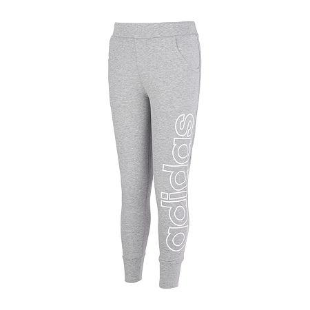 adidas Big Girls Mid Rise Cuffed Jogger Pant, Large (14) , Gray