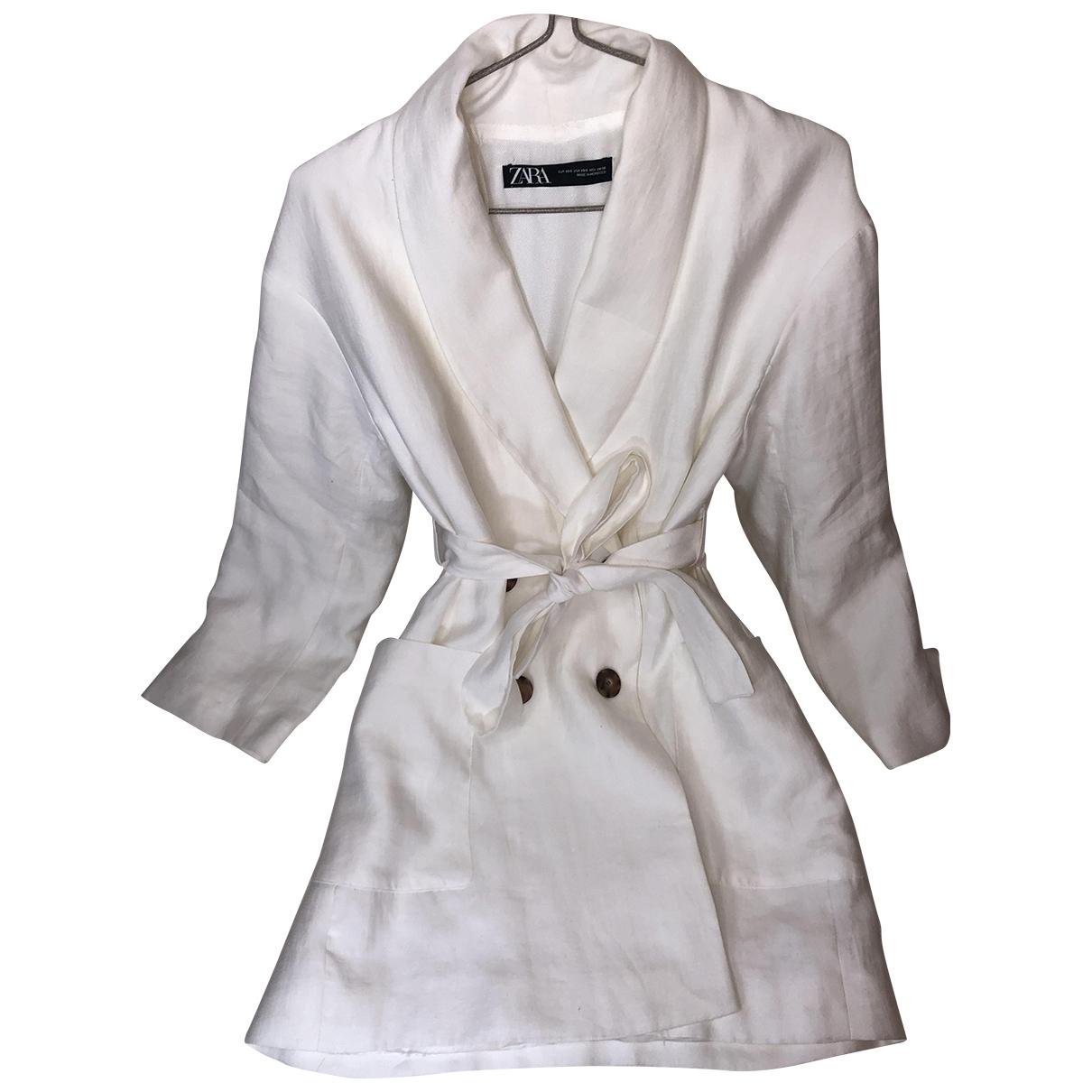 Zara - Manteau   pour femme en lin - blanc