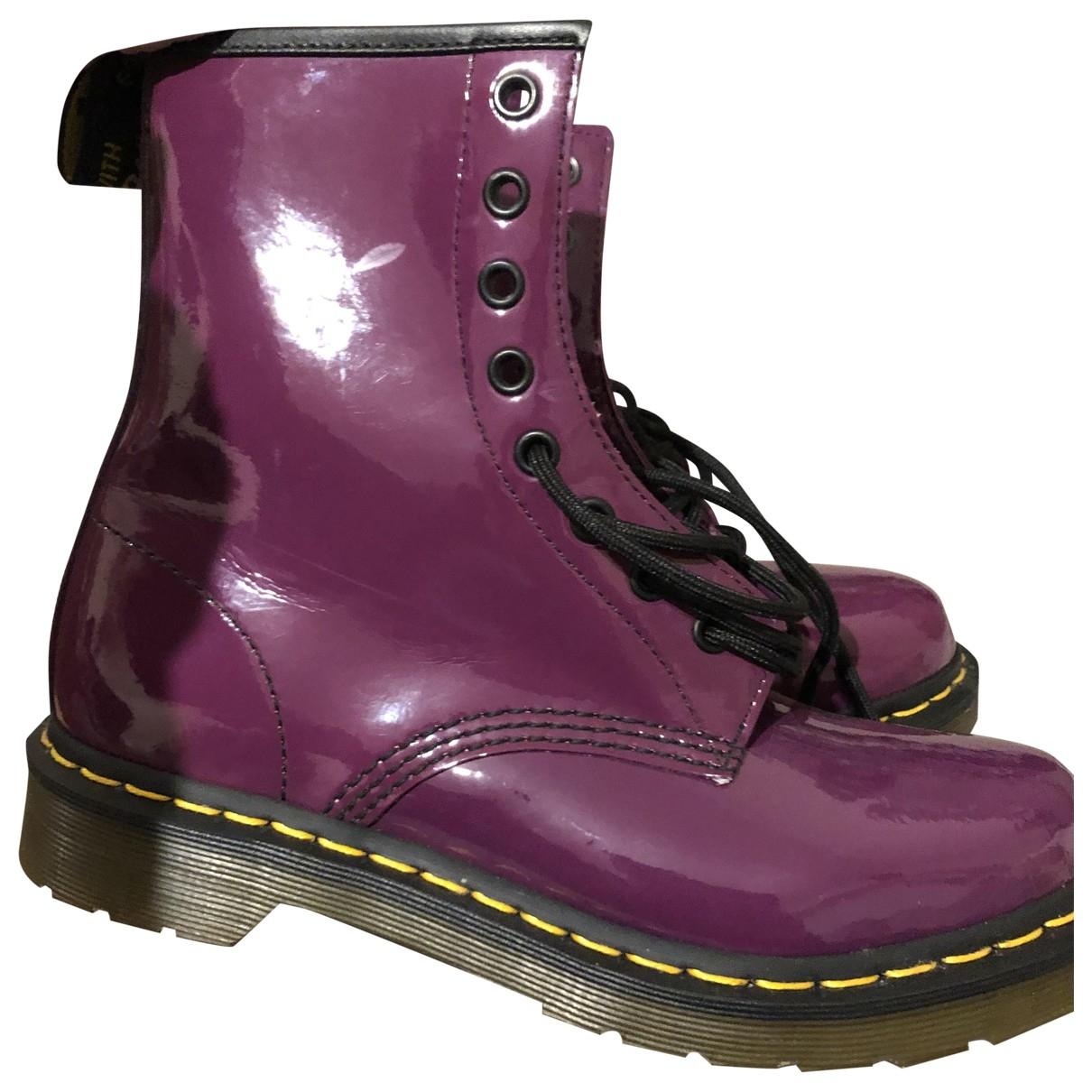 Dr. Martens - Boots   pour femme en cuir verni - violet