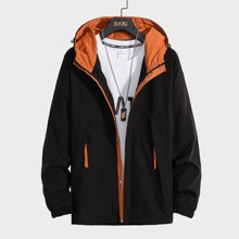 Guys Button Front Hooded Jacket