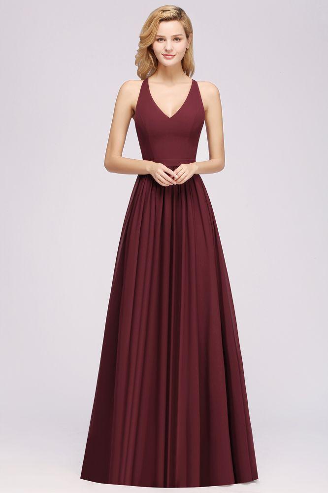 Demoiselle dhonneur A-ligne en mousseline de soie robes de demoiselle dhonneur