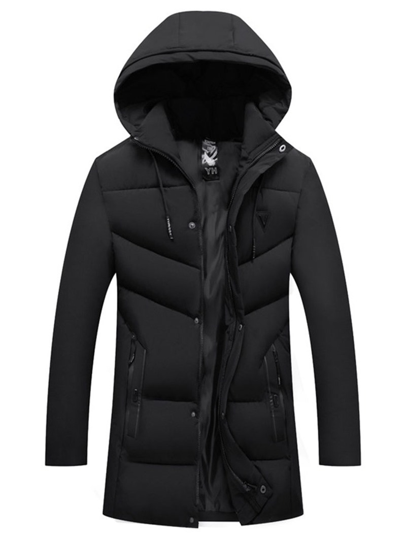 Ericdress Patchwork Plain Mid-Length Zipper Casual Mens Down Jacket