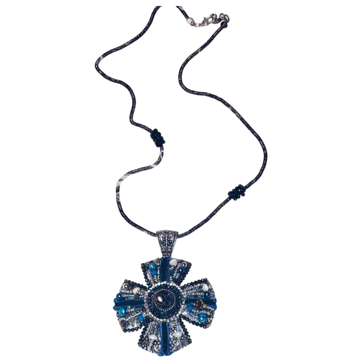 Non Signé / Unsigned Croix Blue Metal necklace for Women N
