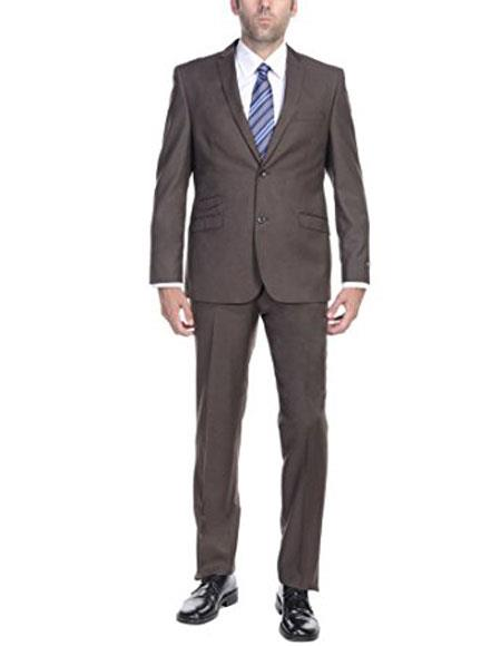 Mens Ticket Pocket Mens Slim Fit 2Piece Single Breasted 2-Button Suit