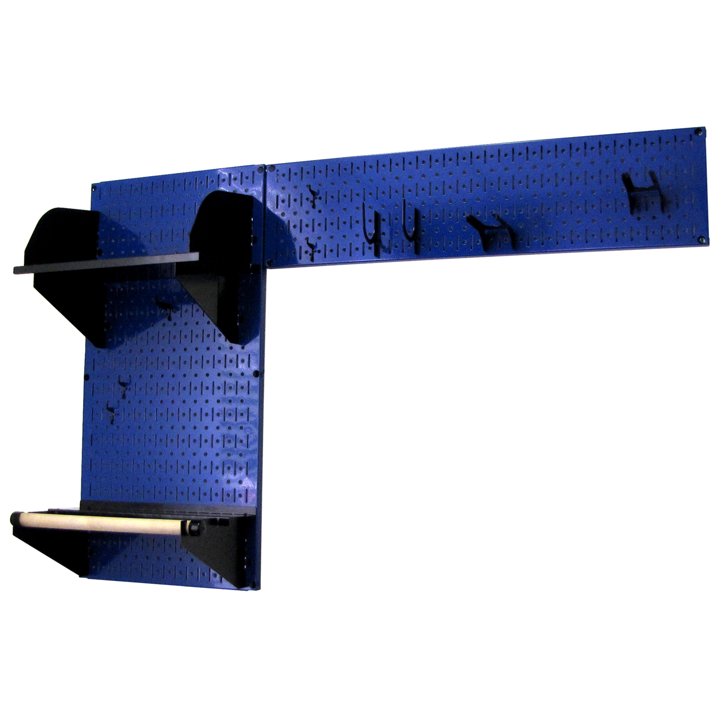 Pegboard Garden Tool Board Organizer with Blue Pegboard and Black Accessories