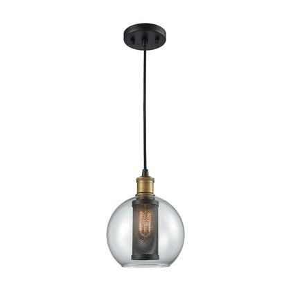 14530/1 Bremington 1 Light Pendant in Oil Rubbed Bronze/Aged Gold with Clear