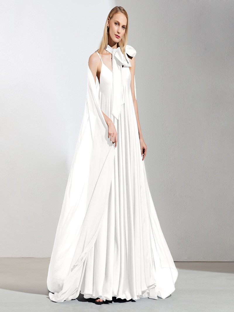 Ericdress A Line Spaghetti Straps Evening Dress With Long Cape