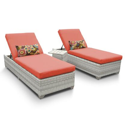 FAIRMONT-2x-ST-TANGERINE Fairmont Chaise Set of 2 Outdoor Wicker Patio Furniture With Side Table with 2 Covers: Beige and