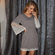 Contrast Lace High Waist Lounge Dress