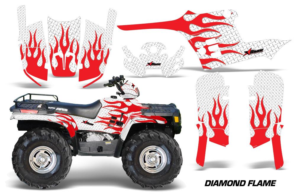AMR Racing Full Custom UTV Graphics Decal Kit Wrap Diamond Flames Red Polaris RZR 800 06-10