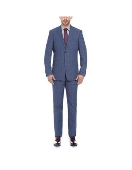 Verno Mens Blue Notch Lapel Plaid Pattern Slim Fit Suit