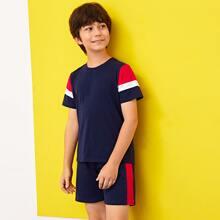 Boys Colorblock Top & Shorts PJ Set