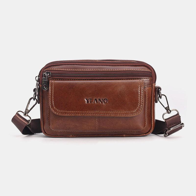 Men Genuine Leather Crossbody Bag Belt Bag