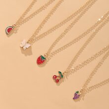 5 Stuecke Halskette mit Obst Dekor