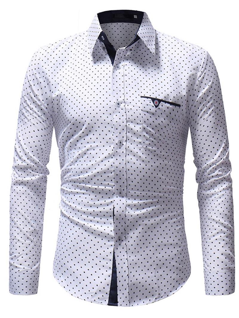Ericdress Polka Dots Slim Button Up Mens Casual Shirts