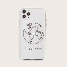 Earth & Letter Graphic Transparent iPhone Case